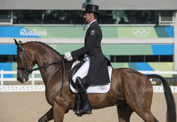 Sir Mark Todd on Leonidas II during the Equestrian competition Eventing's Dressage phase at the Rio Olympics.