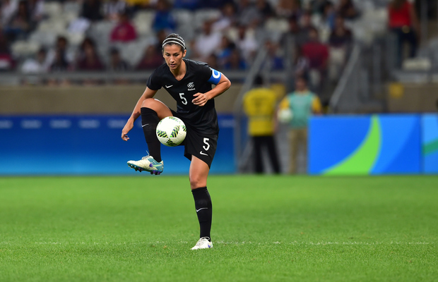 The Football Ferns captain Abby Erceg controls the ball vs Colombia at the Rio Olympics.