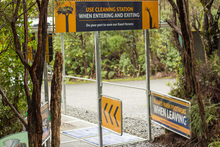 Cleaning Station for Kauri Dieback Disease at an entrance to the Waipoua Forest.