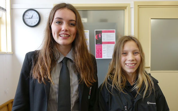 Year 12 Linwood College student Harriett Helms and Year 9 student Kaylah Hoskins