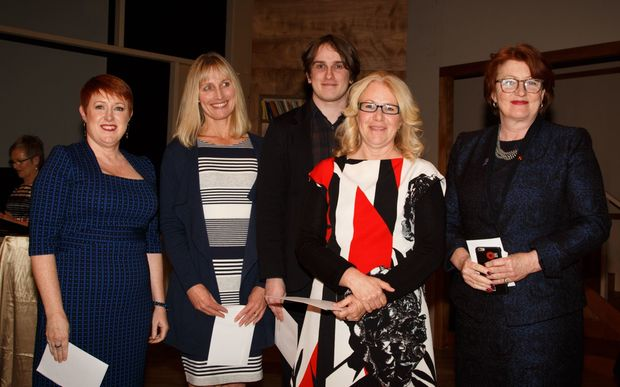 Fiona Mackie (convenor of the judging panel); Lynette Evans (Scholastic New Zealand), Marco Ivancic and Maria Gill (illustrator and author respectively) who won the Margaret Mahy Book of the Year with ANZAC Heroes, and Maggie Barry.