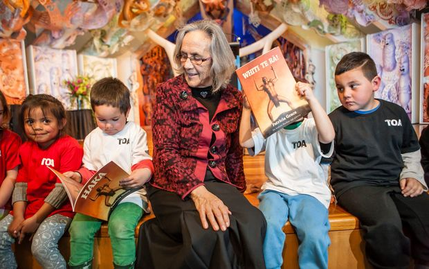 "Patricia Grace with fans at the launch of her book ""Whiti Te Ra!"" at Te Papa.  The book won the Maori language category of the NZ Children's Books Awards."