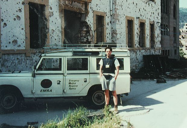 "Tony Gardner in front of the team's Land Rover nicknamed ""The Beast"""