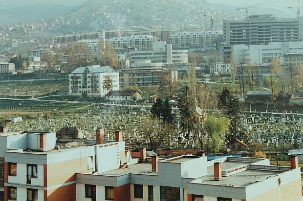 A sports field in downtown Sarajevo transformed by the siege into a graveyard