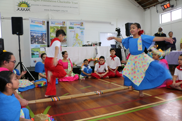 Filifest Dance Group, 10 year old Ella and Miguel perform Tinikling
