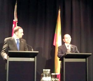 John Key and Thein Sein at a joint media conference.