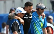 Sonny Bill Williams is helped from the field after an ankle injury.