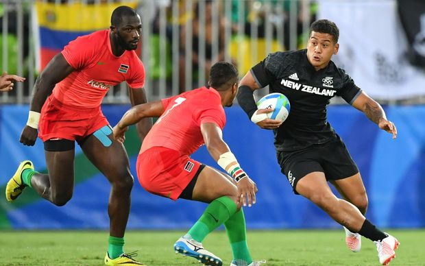 New Zealand's Augustine Pulu in the  sevens match against Kenya.