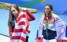 Russia's Yulia Efimova, right, and US swimmer Lilly King.