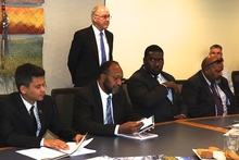 Seated second from left: Vanuatu's prime minister Charlot Salwai visits NIWA in Wellington, New Zealand. 10-08-2016