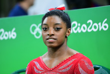 US gymnast Simone Biles attends a practice session of the women's Artistic gymnastics at the Olympic Arena on August 4, 2016 ahead of the Rio 2016 Olympic Games in Rio de Janeiro.