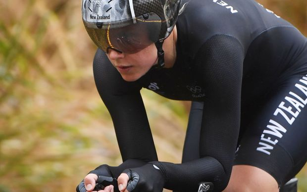 New Zealand's Linda Villumsen cycles during the Women's Individual Time Trial event at the Rio 2016 Olympic Games in Rio de Janeiro on August 10, 2016.