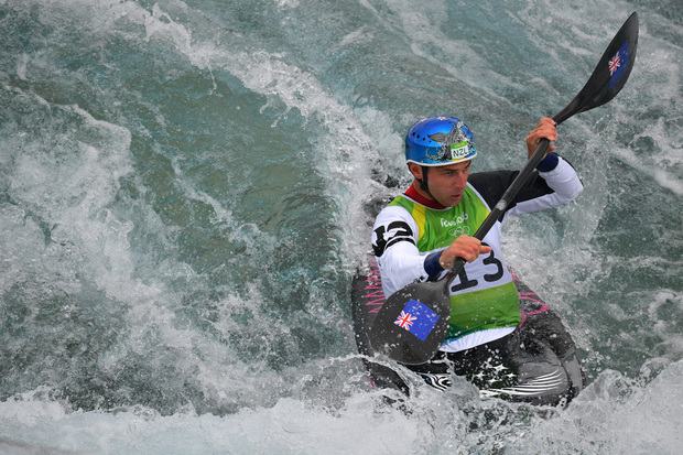 Mike Dawson competes in the canoe slalom at the Olympic Games.
