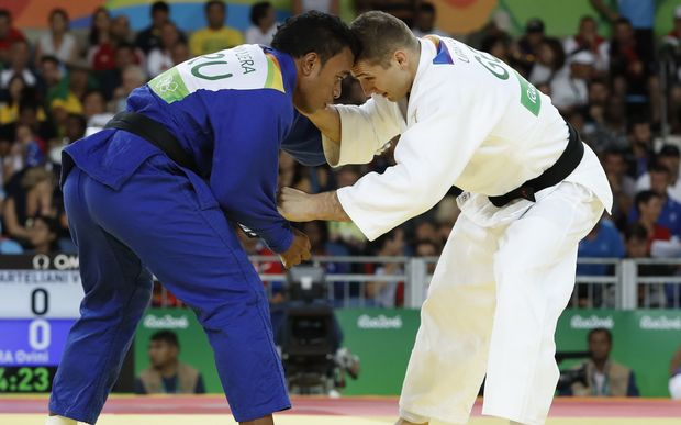 Nauru' judoka Ovini Uera in action at the Rio Olympics.