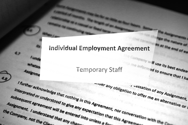 Photo of contract front page for temporary staff