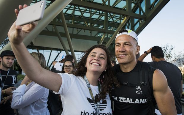 Sonny Bill Williams poses for a selfie in Rio.