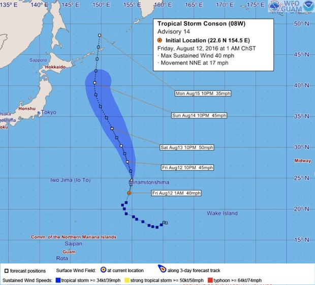 Forecasted track and wind distribution of tropical storm Conson.  Aug 12 2am Guam time