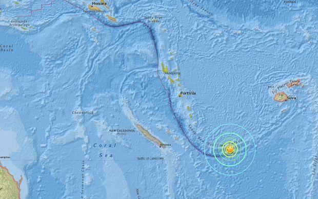 Natural disaster measuring 7.6 hits off Vanuatu