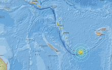 This US Geological Survey image locates the 7.6 earthquake near the Loyalty Islands.