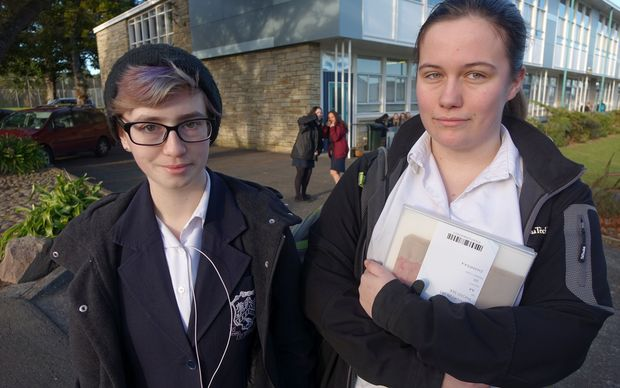 Year 12 students Journie Kendrich and Eleni Gibbs say it is demeaning to insist transgender students wear skirts.
