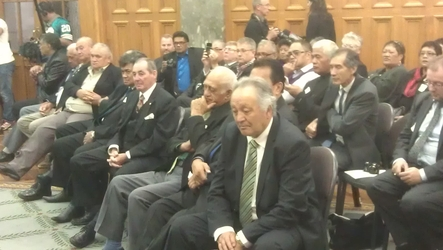 Tuhoe representatives attend the ceremony at Parliament.