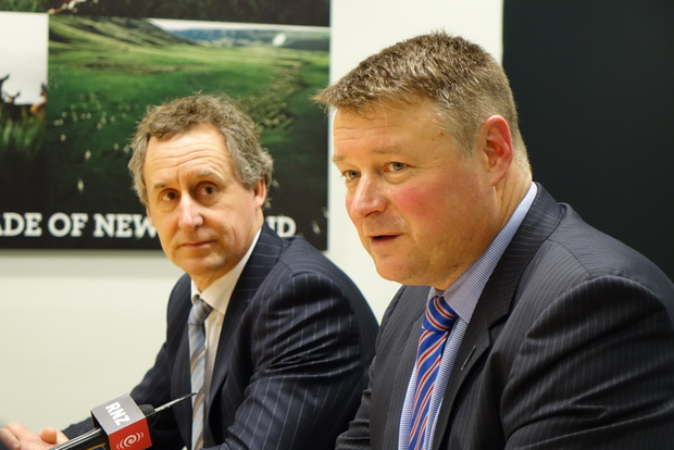 Silver Fern Farms CEO Dean Hamilton and board chair Rob Hewett at a special shareholders' meeting in Dunedin on 12 August 2016.