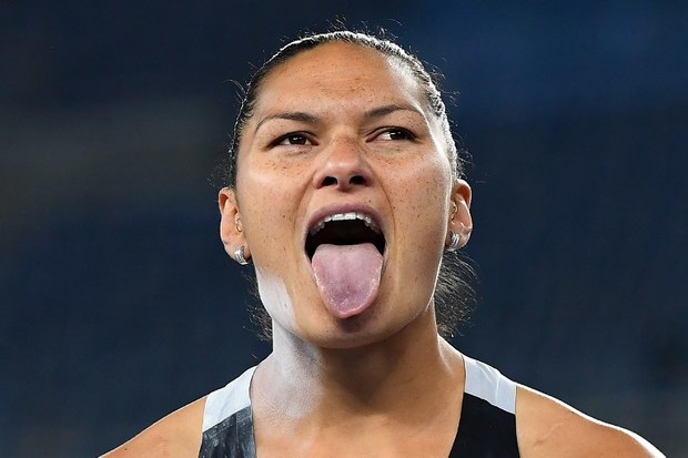 Valerie Adams missed out on a third gold medal after being pipped by the United States' Michelle Carter.