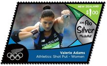 A stamp commemorating Valerie Adams' silver medal for shot put at the Rio Olympics.