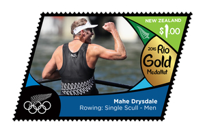 NZ Post issued a stamp of Mahe Drysdale to mark his win in the men's single sculls at the Rio Olympics.