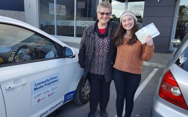 Tutor Jen Little (left) with Rachel Hills who successfully passed her restricted driver licence test.