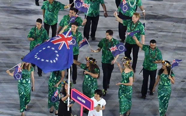 Cook Islands delegation during the opening ceremony of the Rio Olympics.