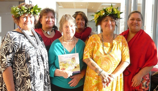 "Author of ""The Cook Islands Crab Race"" June Allen (centre) wants to see more Pacific stories in children's literature."