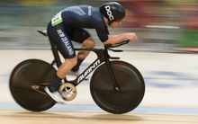 Dylan Kennett competing in the Men's Omnium Individual Pursuit at the Rio Olympics on 14 August.