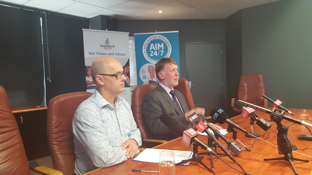 Hawke's Bay Medical Officer of Health Nick Jones, left and Hawke's Bay DHB CEO Kevin Snee.
