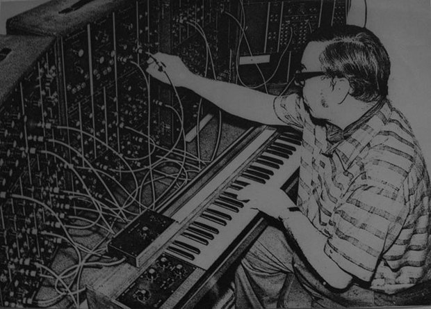 Dr Val Stephen Using a Moog synthesizer, late 1960s