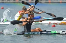 Lisa Carrington in action during the Women's Kayak Single 200m Semifinals of the Canoe Sprint events during the Rio 2016 Olympic Games at Lagoa Stadium in Rio de Janeiro, Brazil, 15 August 2016.