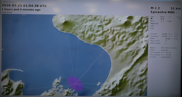 Map of earthquake location in Cook Strait