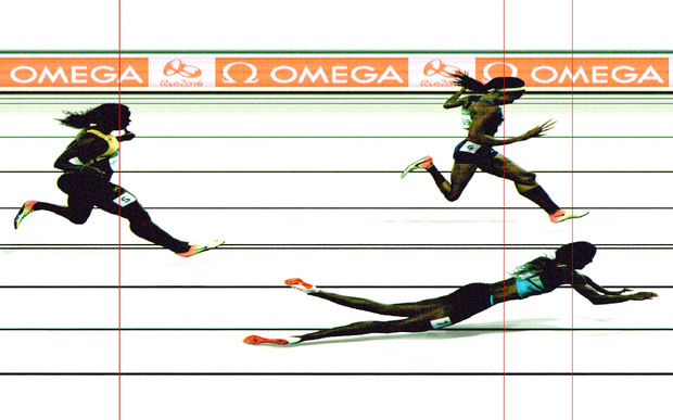 The photo finish - released by Omega - shows Shaunae Miller crossing the line ahead of Allyson Felix and Shericka Jackson.