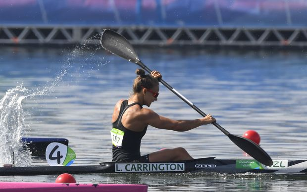 New Zealand's Lisa Carrington competes in the Women's Kayak Single (K1) 200m final at the Lagoa Stadium during the Rio 2016 Olympic Games in Rio de Janeiro on August 16, 2016.