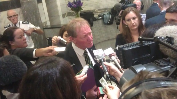 Conservation Minister Nick Smith questioned by journalists on Tuesday.
