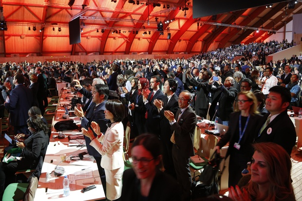 Delegates at the UN Climate Change Conference break into cheers as the Paris Agreement is adopted.