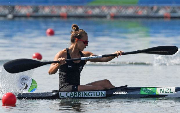 Lisa Carrington competes in the Women's Kayak Single (K1) 500m event at the Lagoa Stadium during the Rio 2016 Olympic Games in Rio de Janeiro on August 17, 2016.