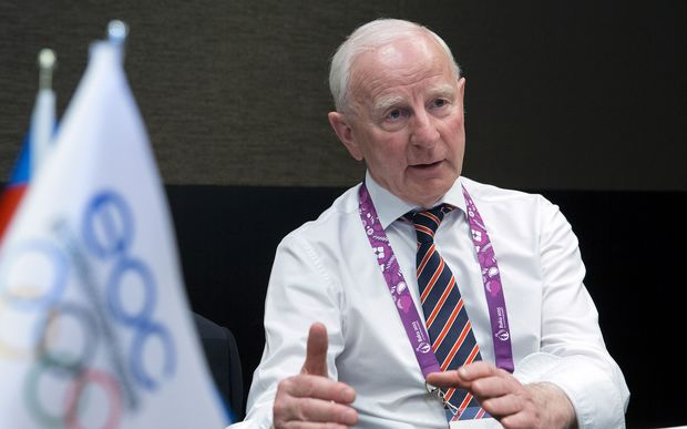 Pat Hickey speaking during an interview at the 2015 European Games in Baku (file photo 24 June 2015).