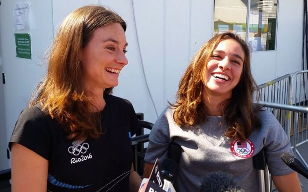Athletes Nikki Hamblin, left, and Abbey D'Agostino