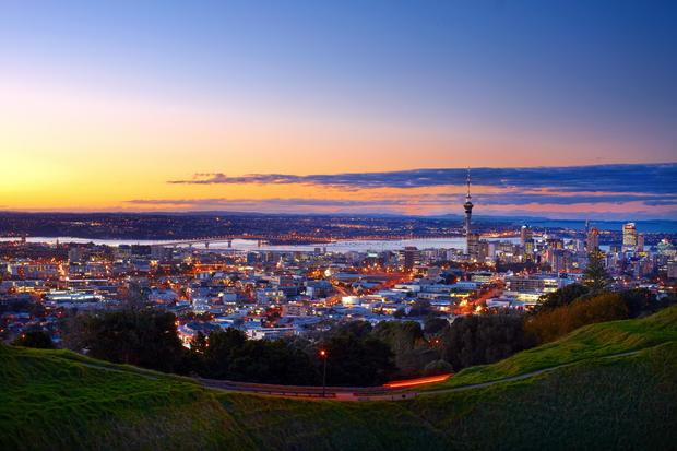 Auckland: New Zealand's largest city as seen from the suburb of Kingsland