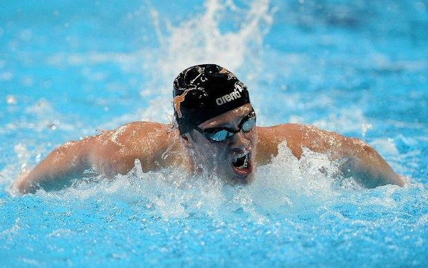 Jack Conger of the United States competes in a preliminary heat of the Men's 200 Meter Butterfly during Day 3 of the 2016