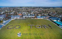 Timaru Boys High School turns out to support old boy Tom Walsh.