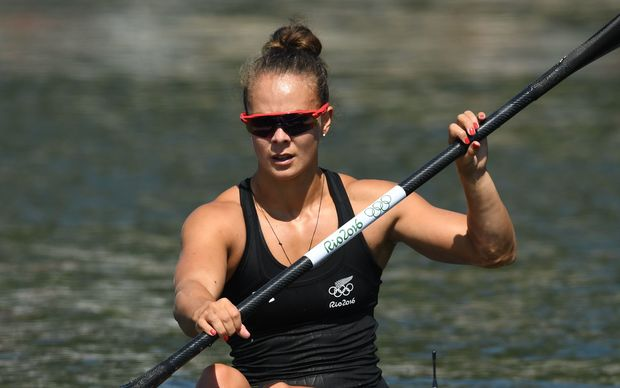 Lisa Carrington of New Zealand in action during the Women's Kayak Single 500m Heats of the Canoe Sprint events of the Rio 2016 Olympic Games at Lagoa Stadium in Rio de Janeiro, Brazil, 17 August 2016.