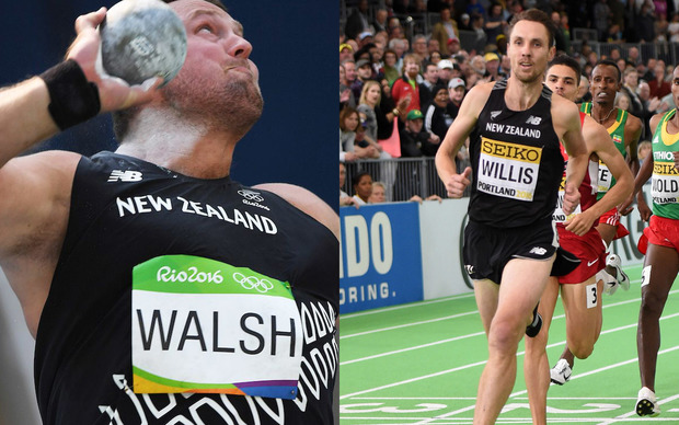 Tom Walsh, left, is competing in the shot put final, while Nick Willis is to run in the 1500m final.