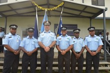 Solomon Islands police officers selected for deployment to the UN peace keeping mission in Darfur, with the RAMSI Participating Police Force Commander, John Tanti (3rd from left).